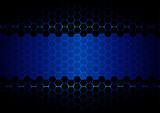 abstract  hexagon blue light and black light technology poster