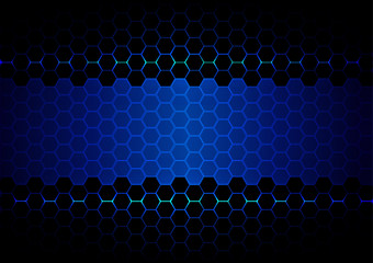 abstract  hexagon blue light and black light technology