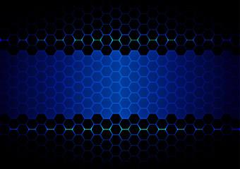 abstract  hexagon blue light and black light technology