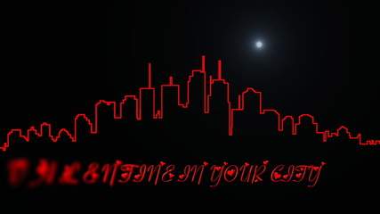 Animated silhuette od new york with inscription