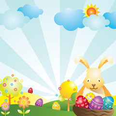 Easter with Bunny and Eggs Background