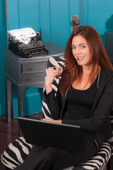 Redhead Woman Sitting Office Setting Working Computer Laptop