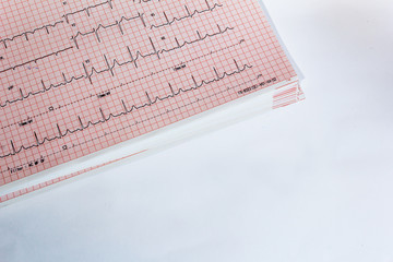 electrocardiogram on white background