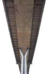 under view of concrete bridge isolated white background