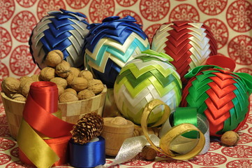 Christmas decorations. Ornaments with satin belt.