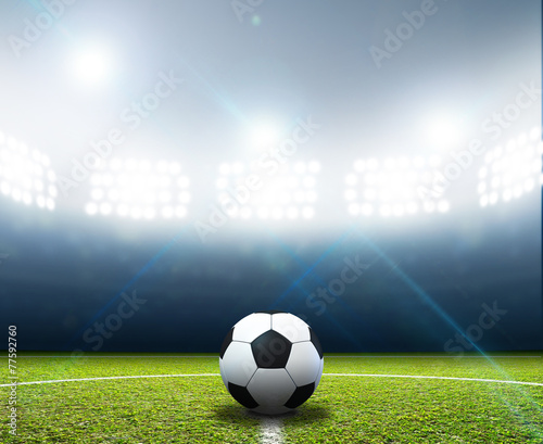 canvas print picture Stadium And Soccer Ball