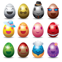 Easter Eggs with Smile Emotion Face Set