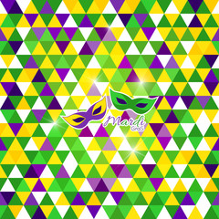Mardi Grass background, masks, geometric pattern in triangles.