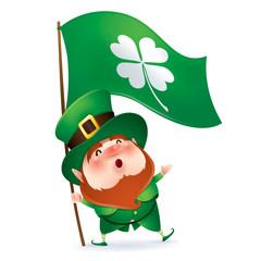 Leprechaun holding flag of clover symbol