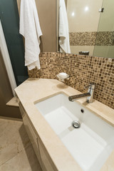 Close up of sink in bathroom