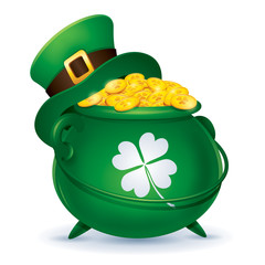 St. Patrick's Day symbol - Leprechaun's hat and pot of gold