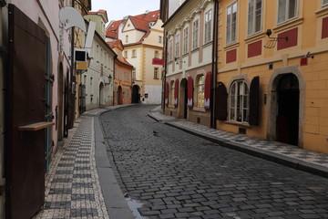 Typical street in Prague, Czech Republic