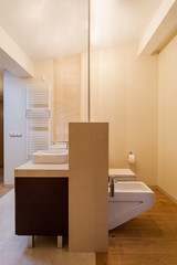Beige interior of bathroom