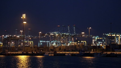 Night view of  Port of Algeciras