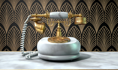 Marble Telephone And Art Deco Scene