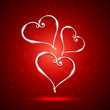 beautiful heart  illustration in red background