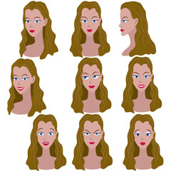 Set of variation of emotions of the same girl with brown hair
