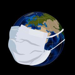 Illustration of globe in medical mask