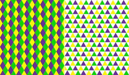 Mardi Gras seamless vector patterns in diamond, triangles.
