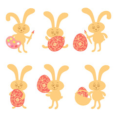 Set of cute easter bunny