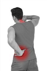 Rear view of man in sportswear suffering from neck ache