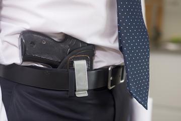 Bodyguard with gun