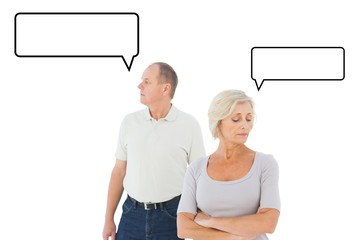 Composite image of older couple having an argument