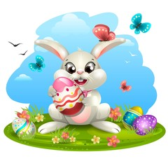 White rabbit with eggs