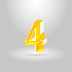 Isometric Alphabet Font.Number 4.Vector illustration