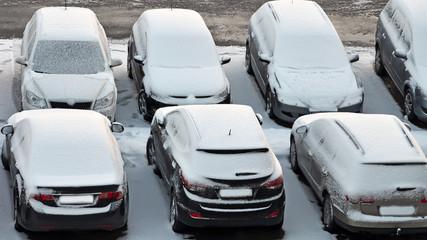 wintereinbruch, parkplatz, schnee
