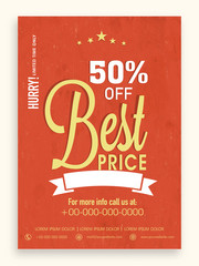 Sale flyer, template or brochure design with 50% discount offer.