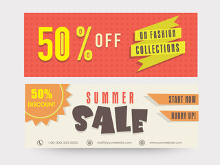 Summer sale website header or banner set with 50% discount.