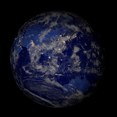 Earth from space at night isolated on black.