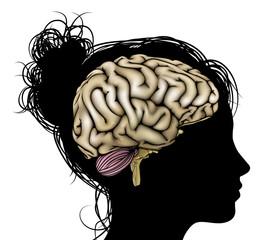 Woman silhouette brain