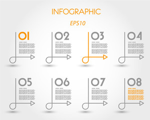 linear infographics with simple curve