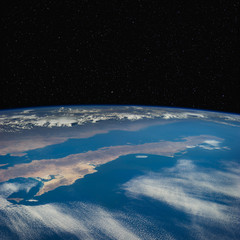 Baja California from space. Stars in the background.