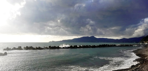 Stormy seascape With Portofino Mount in the background