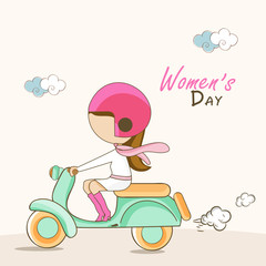 Women's Day celebration with young girl riding scooter.