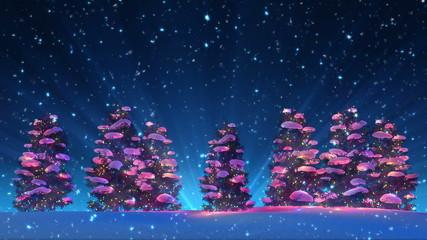 Christmas Trees and Snow (4K HD Animation Loop)
