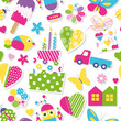 cute birthday cake, hearts, flowers, toys and animals pattern