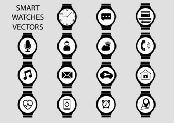 Isolated smart watch vector icon illustrations
