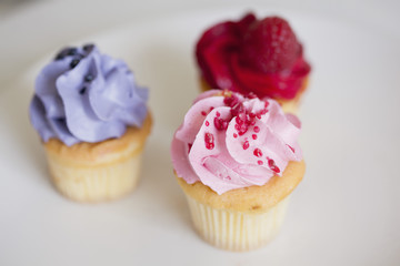 Close-up of cupcakes with toppings