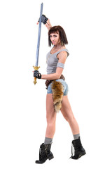 young warrior woman holding sword