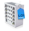 Immeuble et son étiquette loi Pinel (reflet)