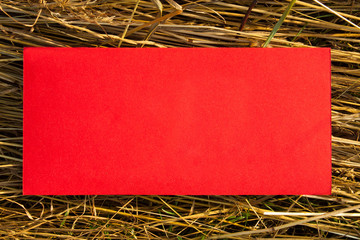 red blank paper on straw grass background