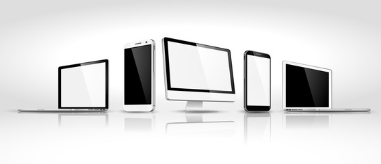 Set of modern devices isometric. Vector