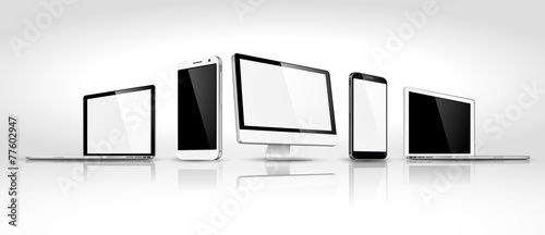 Set of modern devices isometric. Vector - 77602947