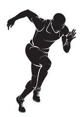 Runner. Vector silhouette, isolated on white