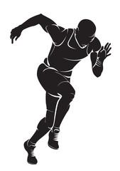 Runner. Vector silhouette, isolated on white