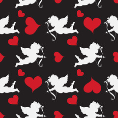 Cupid  Seamleess    Pattern with red hearts